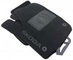 Коврики в автомобиль текстильные Skoda Rapid 2013- черные Бизнес 4 клипсы