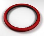 Avtokovriki Чехол на руль кожаный красный с графитовым шнурком (размер L)
