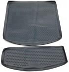 Коврик в багажник автомобиля Volkswagen Touran 2003- (из 2-х частей) полиуретановый черный