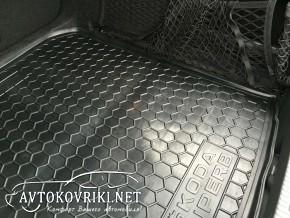 Коврик в багажник Шкода СуперБ Лифтбэк 2015- полиуретановый Авто