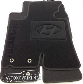 Ворсовые коврики Hyundai ix35 2010- черные Milan
